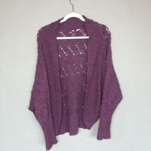 Anthropologie Moth Purple Shrug Knit Cardigan S